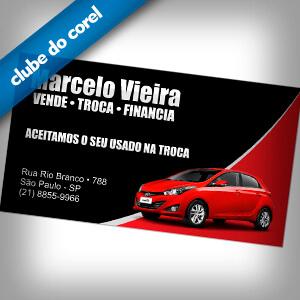 Cartão Visita Vendedor de Carros - Clube do Corel