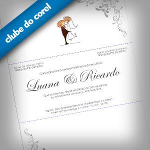 Modelo Convite Casamento - Clube do Corel
