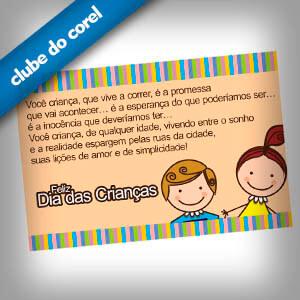 Cartão dia Das Crianças Clube do Corel
