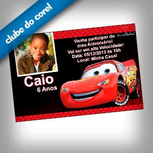 Convite Aniversário Carros Clube Do Corel