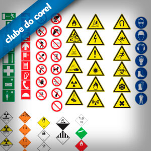 Placas Segurança EPI e Avisos - Clube do Corel