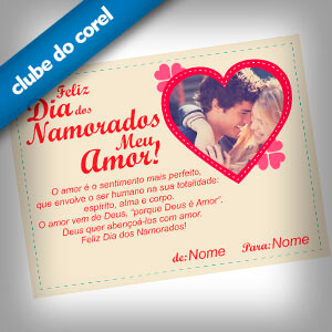 Cartão dia Dos Namorados - Clube do Corel