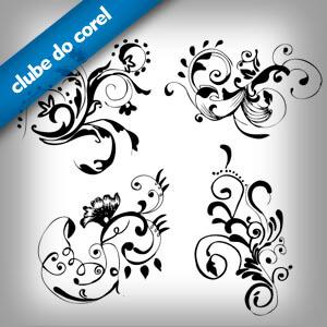 4 Modelos arabescos e Florais - Clube do Corel