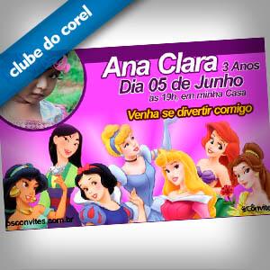 Convite Aniversario Princesas Disney Clube Do Corel