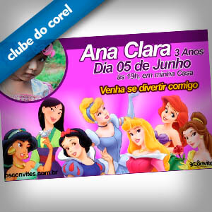 Convite Aniversário Princesas Disney - Clube do Corel