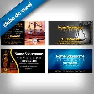 Cartão de Visita Advogado 4 Modelos Profissionais Grátis - Clube do Corel