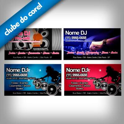 Cartão de Visita DJ 4 Modelos Profissionais Grátis - Clube do Corel