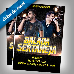 Flyer Cartaz Festa Sertanejo - Clube do Corel