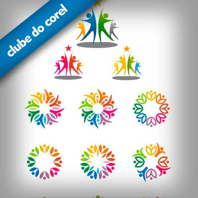 Modelos-Logo-com-Pessoas-Comunidade-CDR-CorelDRAW---Clube-do-Corel