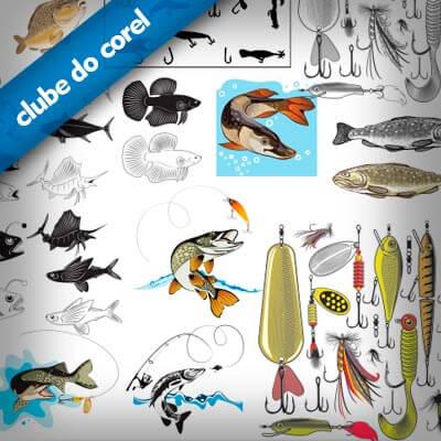 Peixes-e-Pescaria-Vetores-CDR-CorelDRAW---Clube-do-Corel