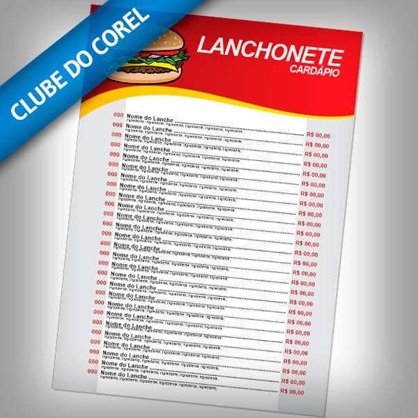 Cardápio-Lanchonete---CorelDRAW---CDR---Clube-do-Corel
