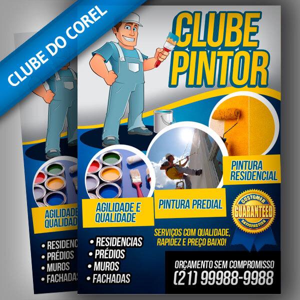 Panfleto Pintor CorelDRAW Modelo pronto para editar e imprimir