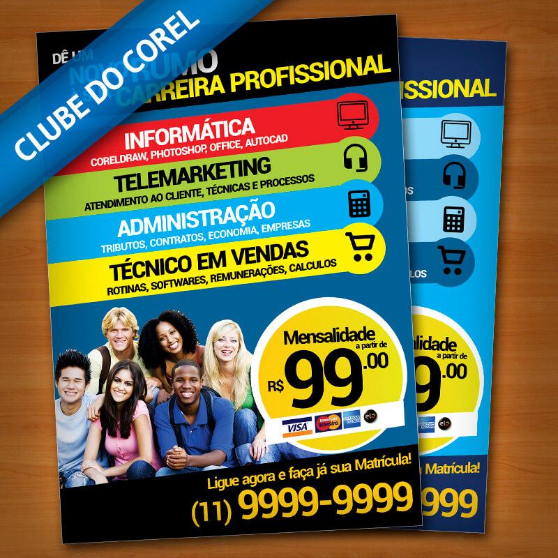 Panfleto Cursos - Clube do Corel - modelo pronto