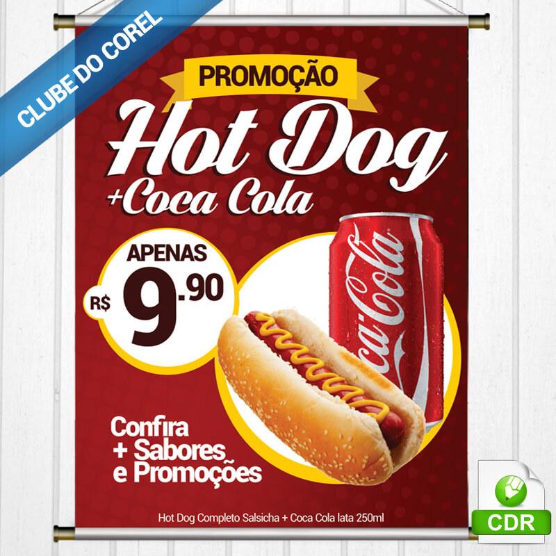 Banner Cachorro Quente (Hot Dog) Promoção - MOdelo Pronto Panfleto Clube do Corel