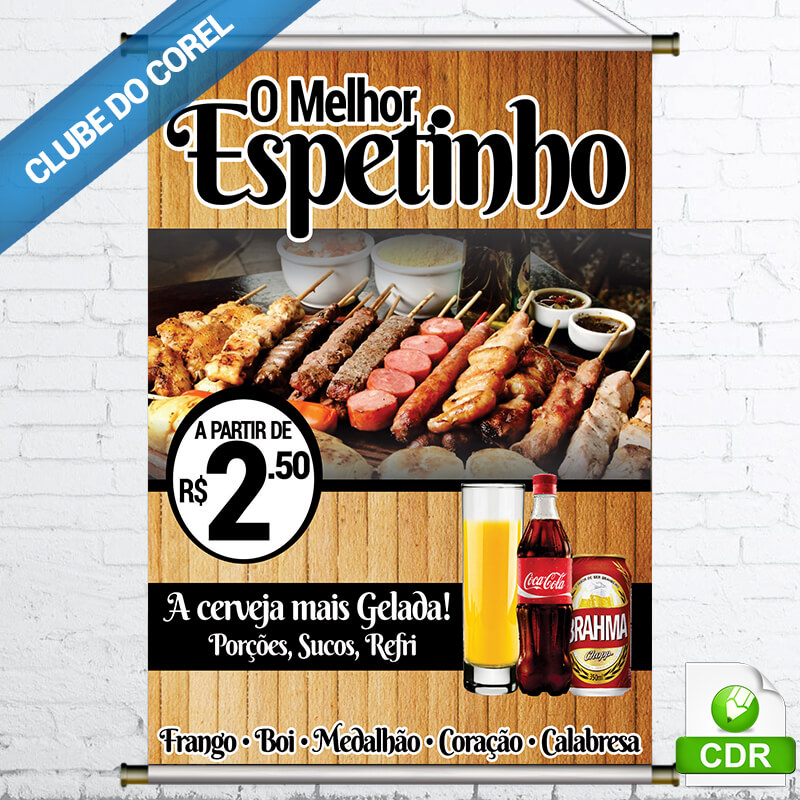 Banner-Espetinho---Modelo-Pronto---CDR-Clube-do-Corel