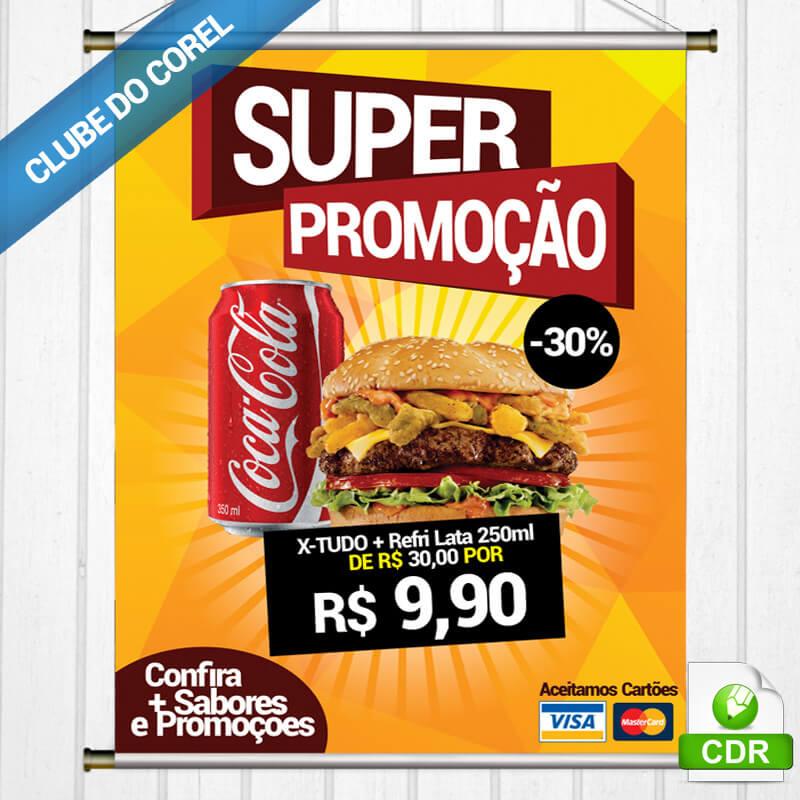 Banner Lanchonete - Modelo Pronto Clube do Corel Editar e Imprimir