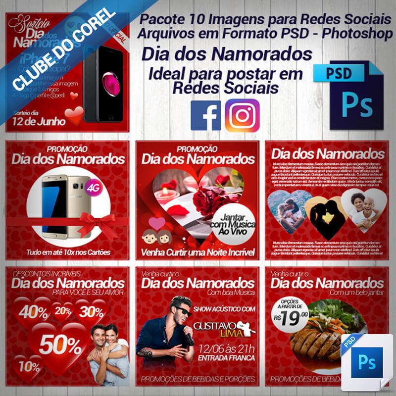 Pacote 10 Imagens Redes Sociais Promoção Dia dos Namorados PSD Pronto para Editar