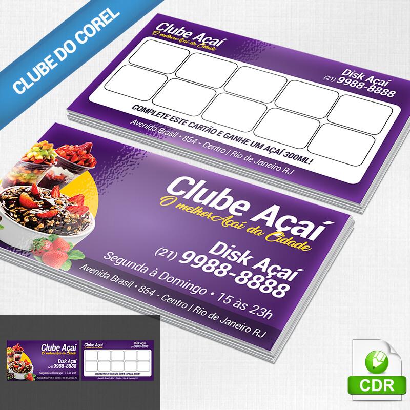 Cartão-Açai-Fidelidade---Clube-do-Corel-Modelo-Pronto-Cartão-de-Visita-Açaí