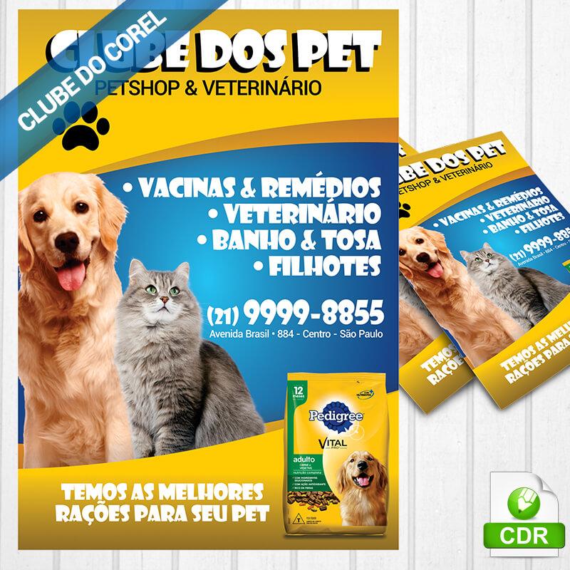 Panfleto-Pet-Shop-Veterinário---Clube-do-Corel-Modelo-Panfleto-Pronto-Editar-e-Imprimir-Imagem