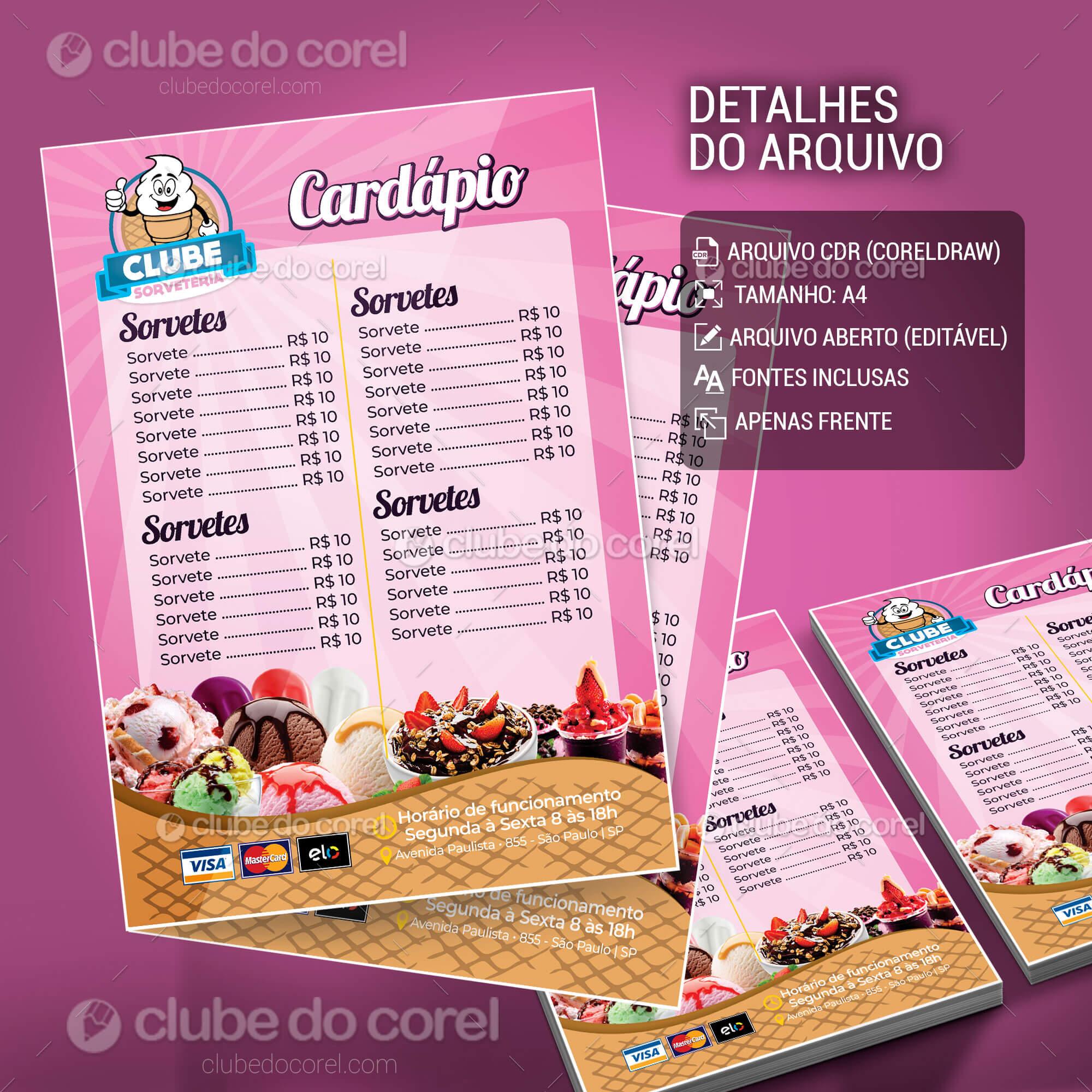 Cardápio Sorveteria Clube Do Corel